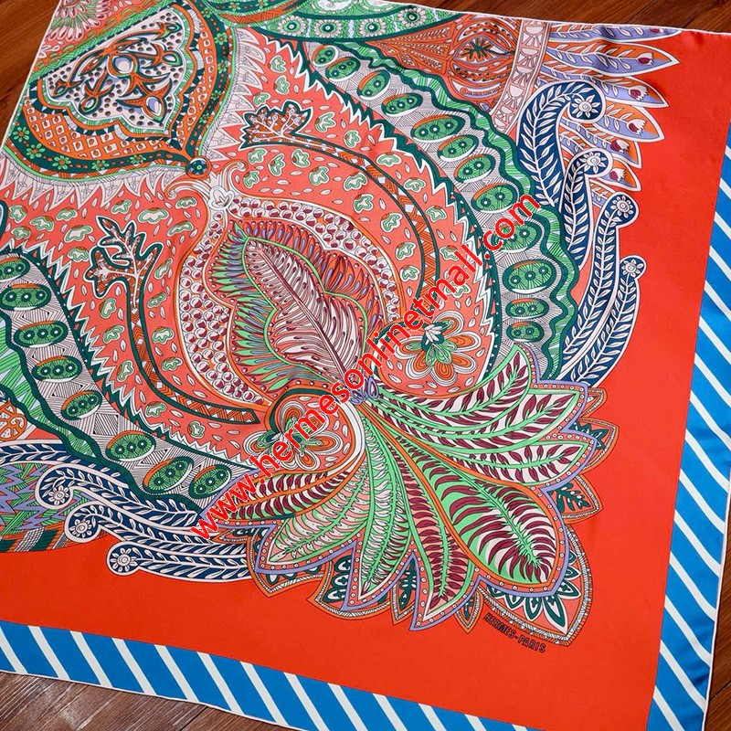 Hermes A Corner Of The Flower 90 Scarf In Red