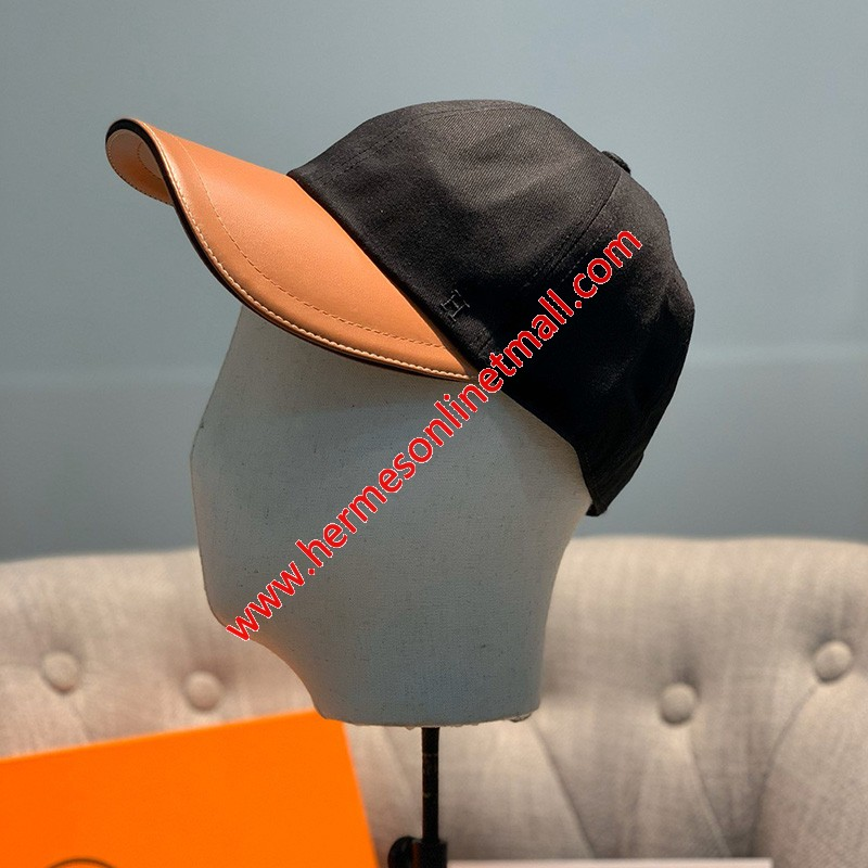 Hermes H Cotton Baseball Cap In Black