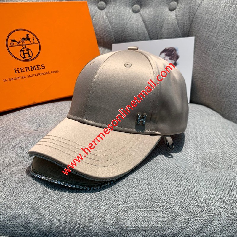 Hermes Crystal H Silk Baseball Cap In Pink