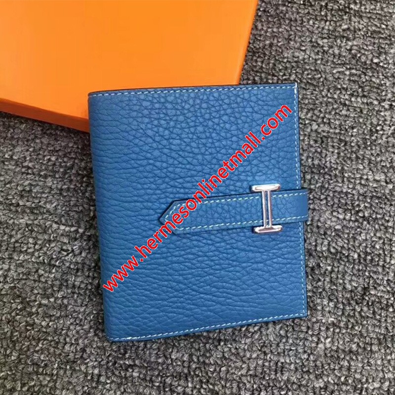 Hermes Bearn Compact Wallet Togo Leather Palladium Hardware In Blue