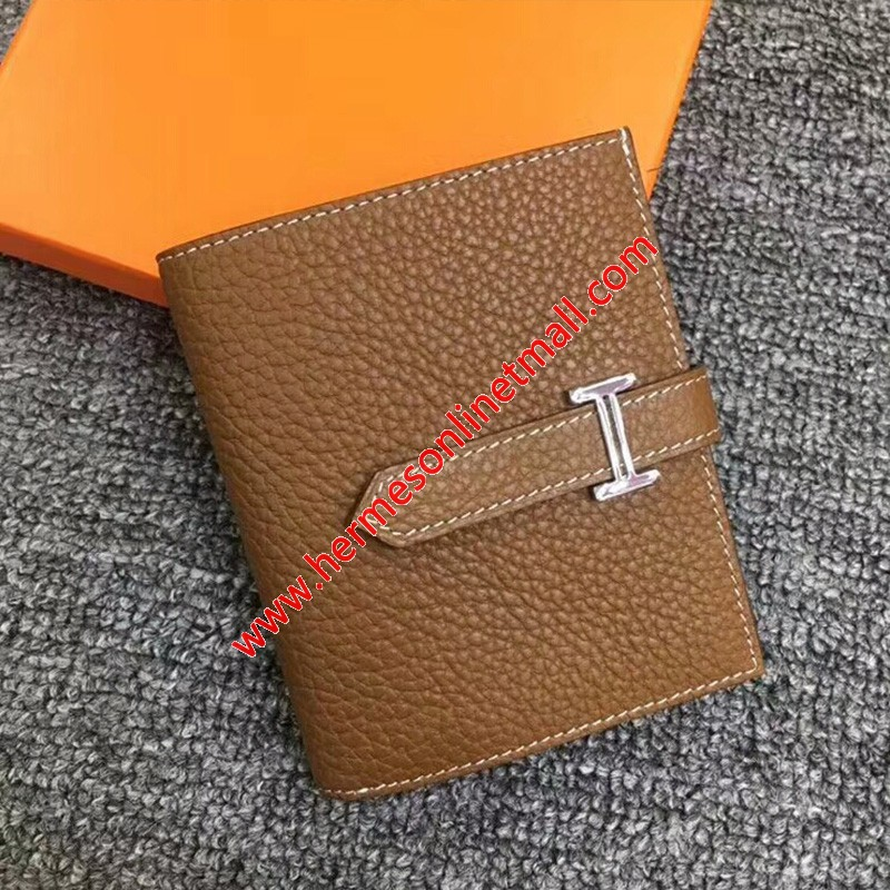 Hermes Bearn Compact Wallet Togo Leather Palladium Hardware In Brown
