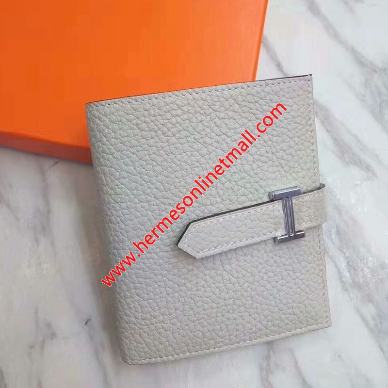 Hermes Bearn Compact Wallet Togo Leather Palladium Hardware In Grey