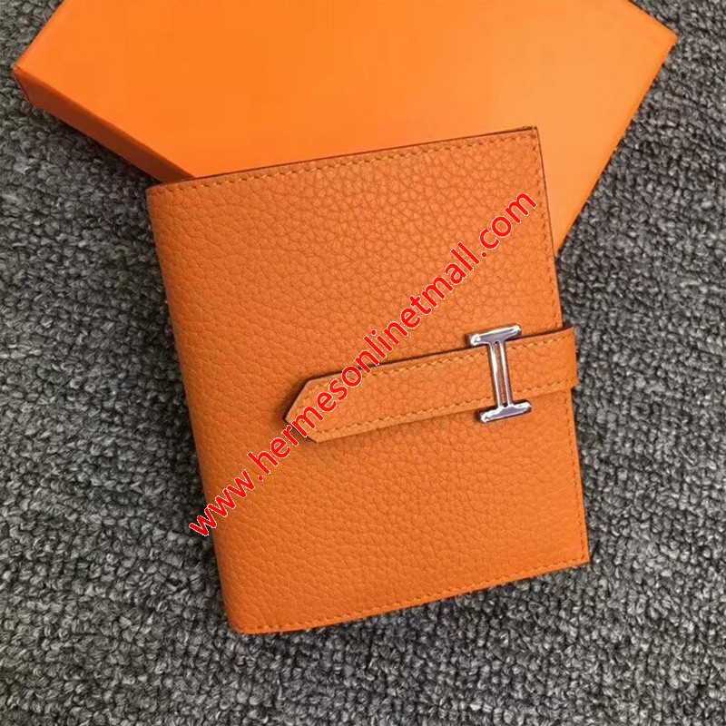 Hermes Bearn Compact Wallet Togo Leather Palladium Hardware In Orange