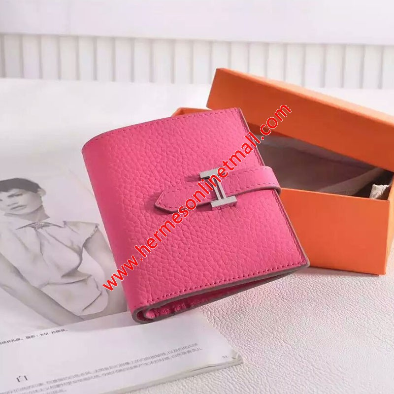 Hermes Bearn Compact Wallet Togo Leather Palladium Hardware In Rose