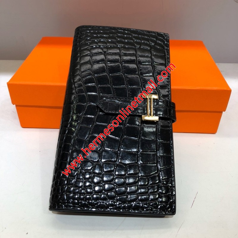 Hermes Bearn Wallet Alligator Leather Gold Hardware In Black