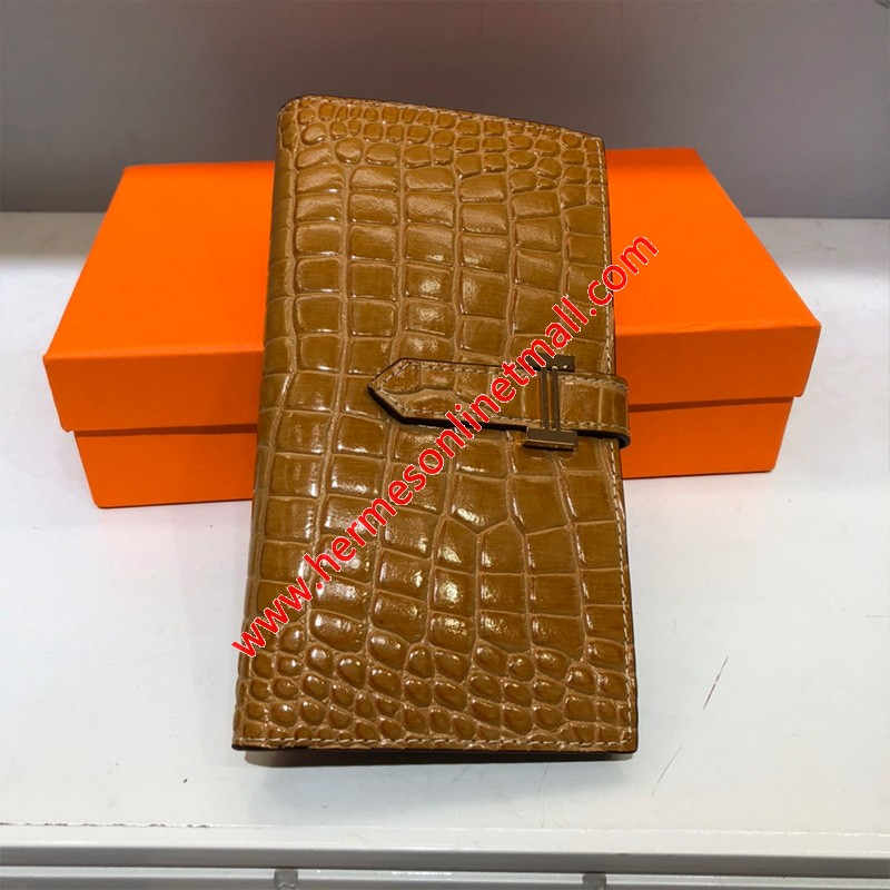 Hermes Bearn Wallet Togo Leather gold Hardware In Brown