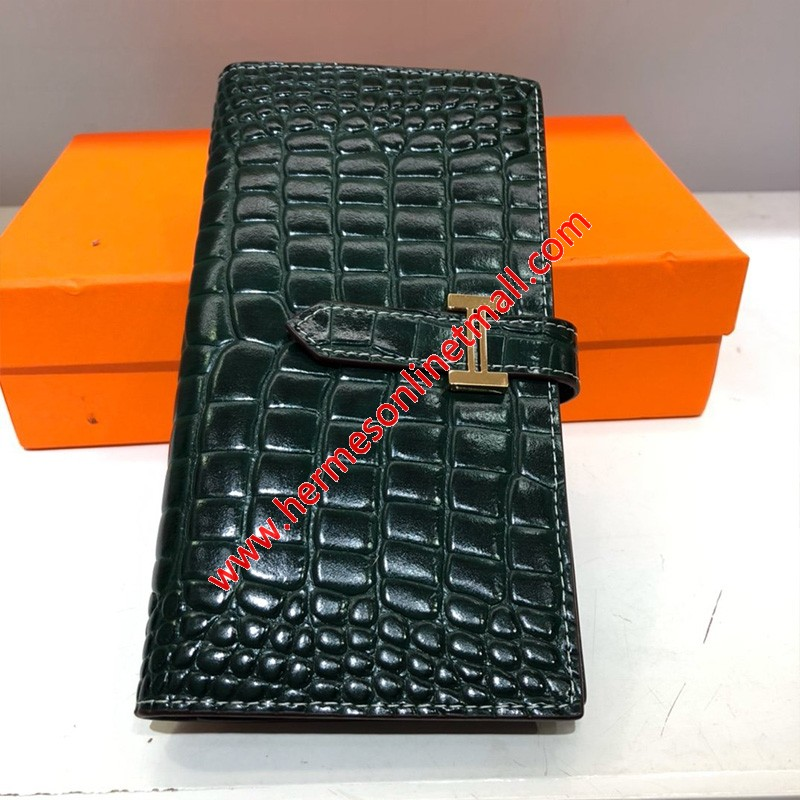 Hermes Bearn Wallet Togo Leather gold Hardware In Green