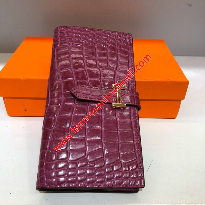 Hermes Bearn Wallet Togo Leather gold Hardware In Purple