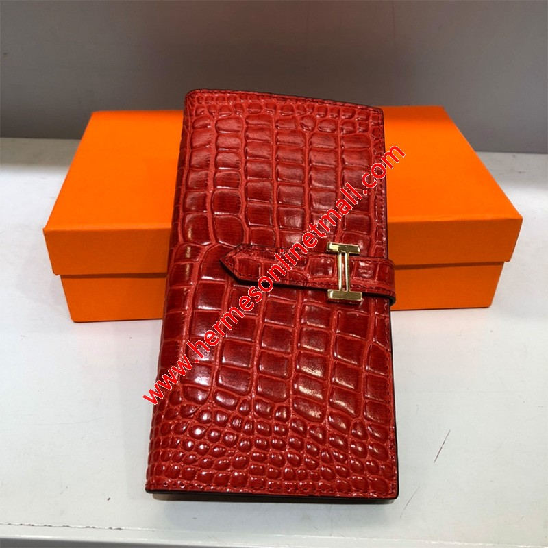 Hermes Bearn Wallet Togo Leather gold Hardware In Red