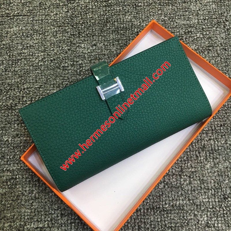 Hermes Bearn Wallet Togo Leather Palladium Hardware In Dark Green