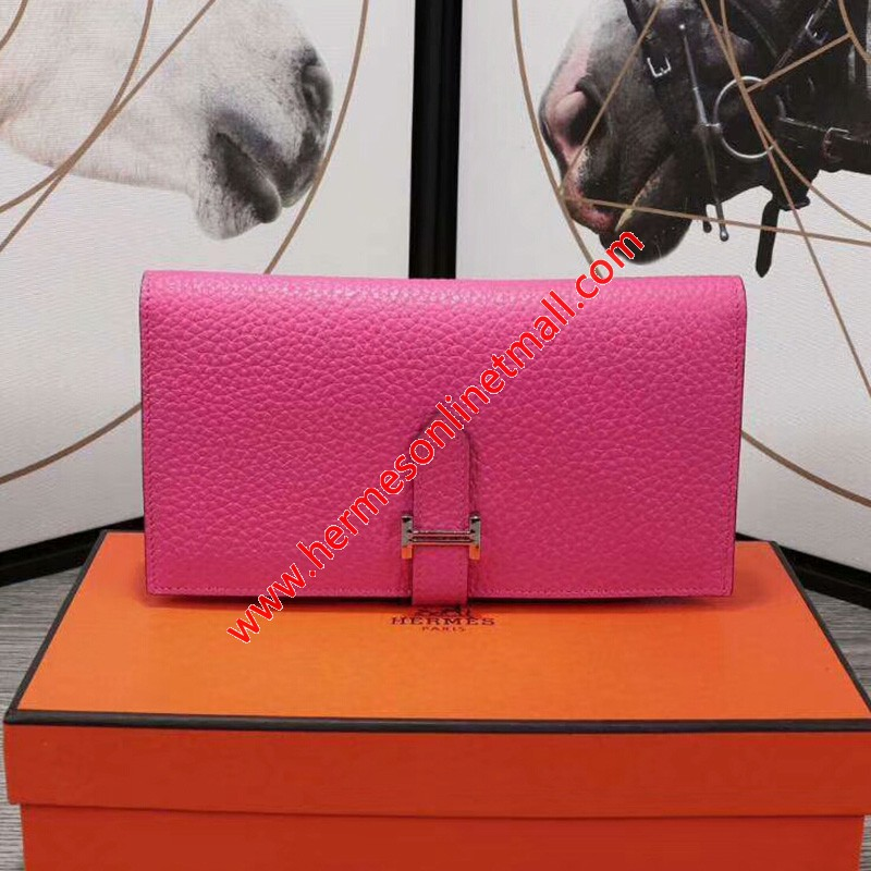 Hermes Bearn Wallet Togo Leather Palladium Hardware In Rose