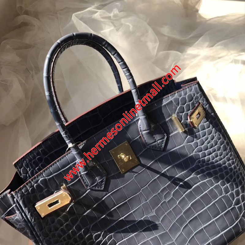 Hermes Birkin Bag Alligator Leather Gold Hardware In Dark Blue