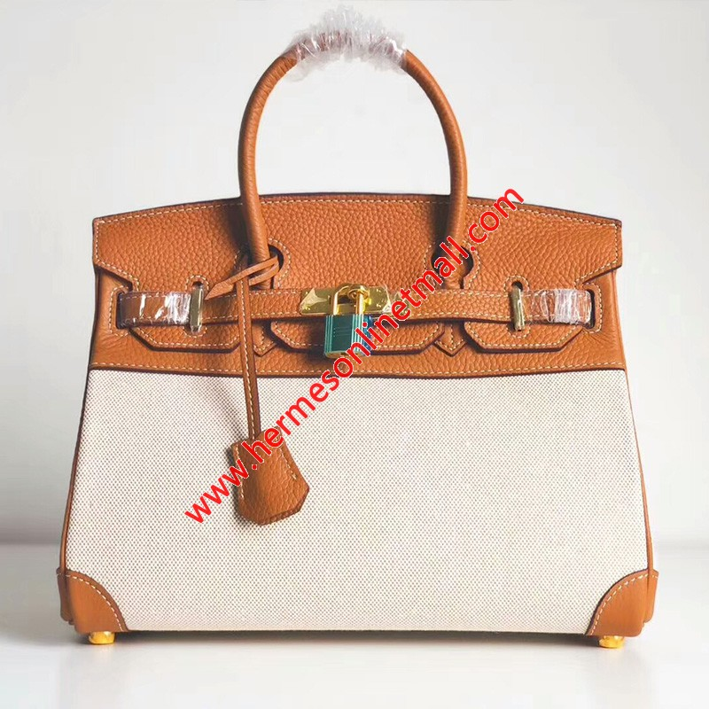 Hermes Birkin Bag Canvas Gold Hardware In Brown