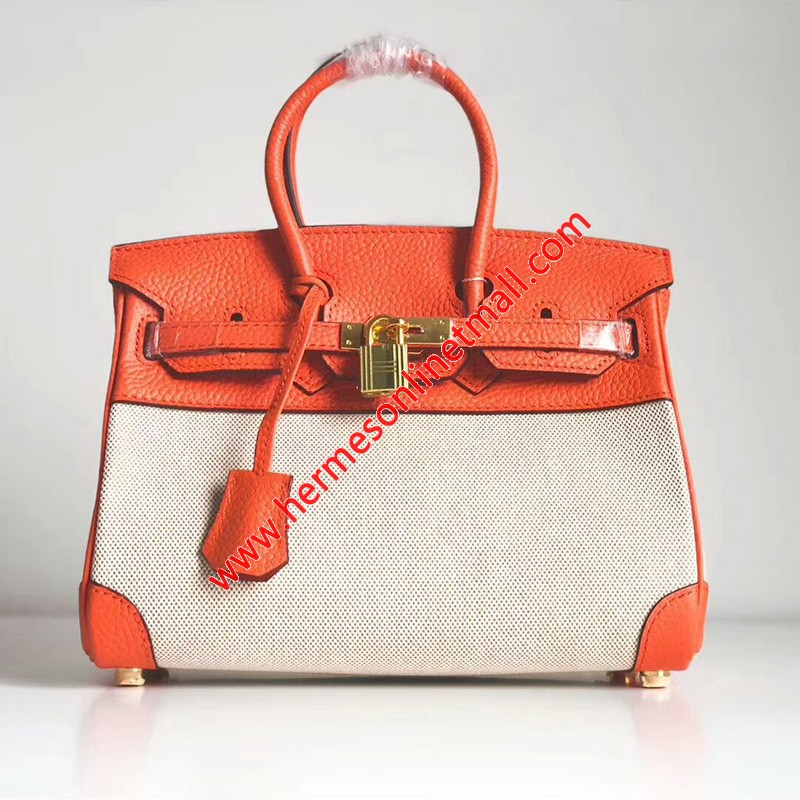 Hermes Birkin Bag Canvas Gold Hardware In Orange