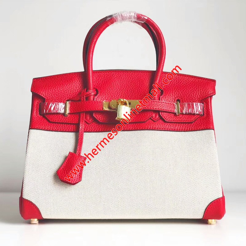 Hermes Birkin Bag Canvas Gold Hardware In Red
