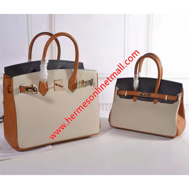 Hermes Birkin Bag Color Blocking Clemence Leather Gold Hardware In Brown