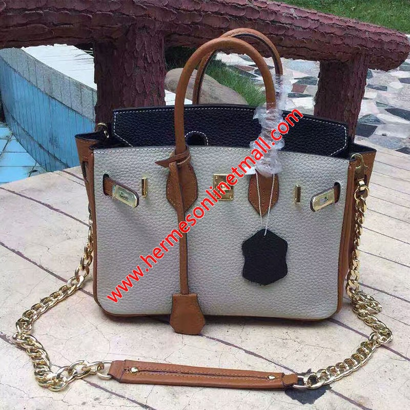 Hermes Birkin Bag Color Blocking Clemence Leather Gold Hardware In Grey