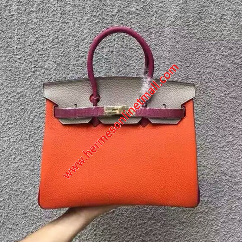 Hermes Birkin Bag Color Blocking Clemence Leather Gold Hardware In Orange