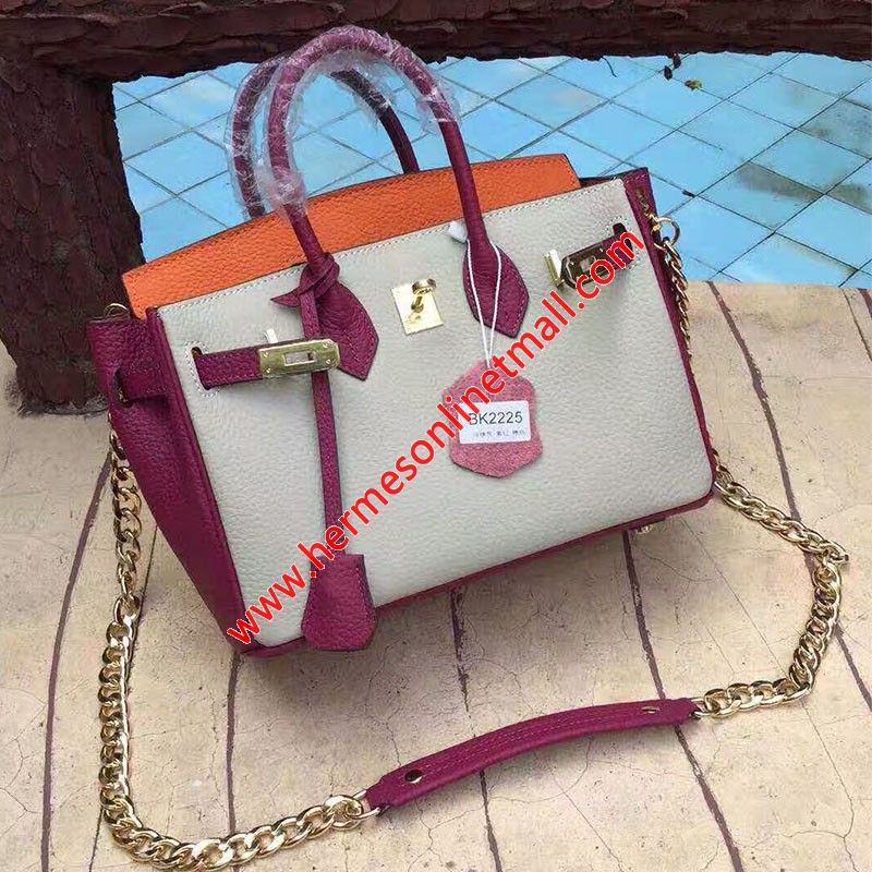 Hermes Birkin Bag Color Blocking Clemence Leather Gold Hardware In Retro Red