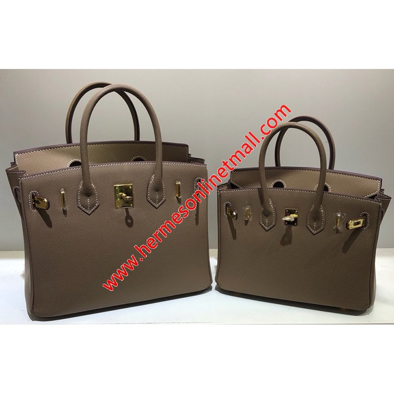 Hermes Birkin Bag Epsom Leather Gold Hardware In Coffee