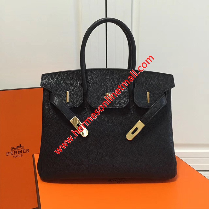 Hermes Birkin Bag Togo Leather Gold Hardware In Black