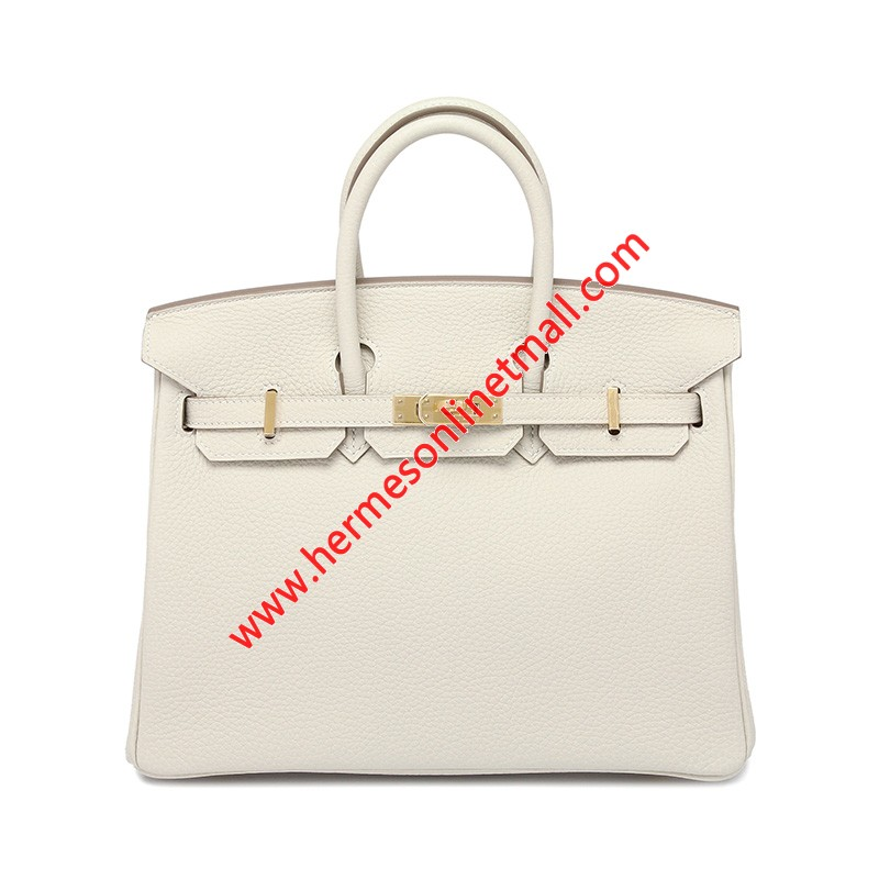 Hermes Birkin Bag Togo Leather Gold Hardware In White