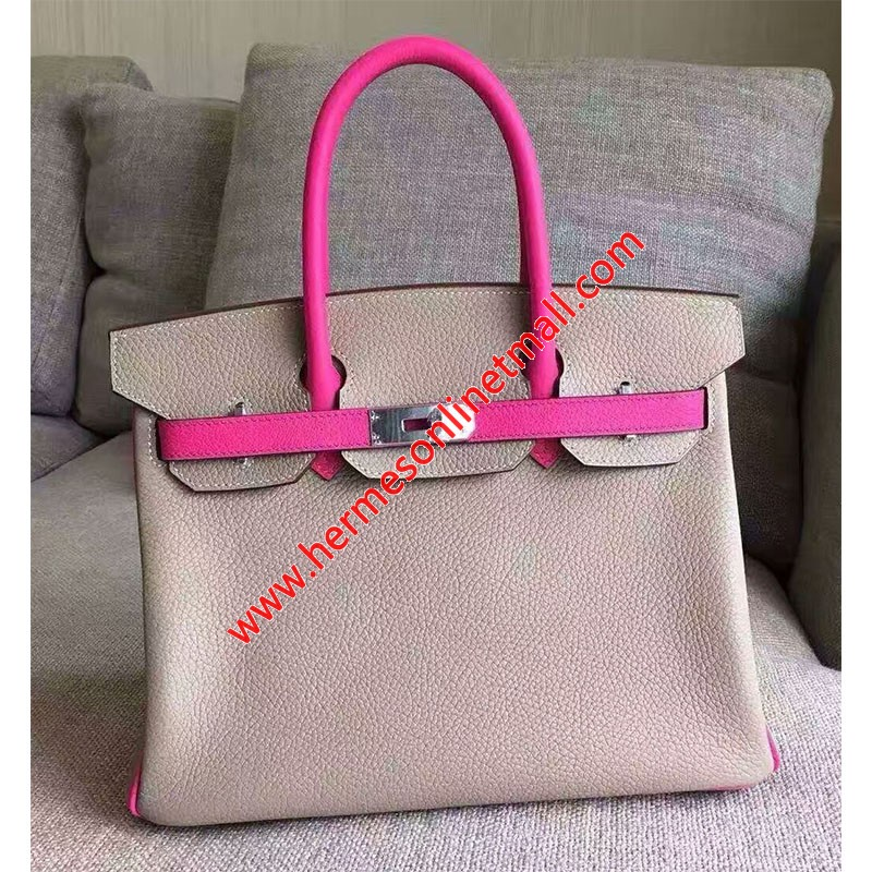 Hermes Birkin Bag Color Blocking Clemence Leather Palladium Hardware In Pink