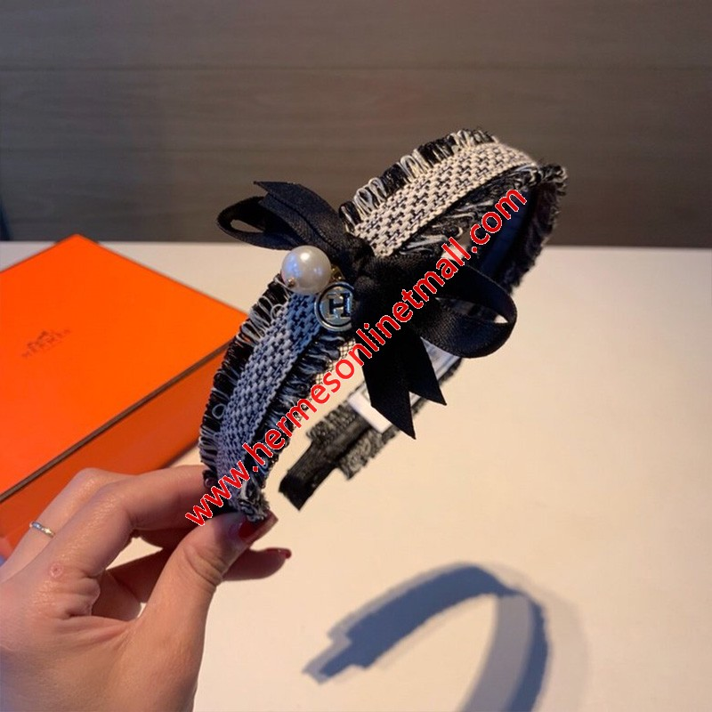 Hermes Bow-knot With Pearls Headband Black