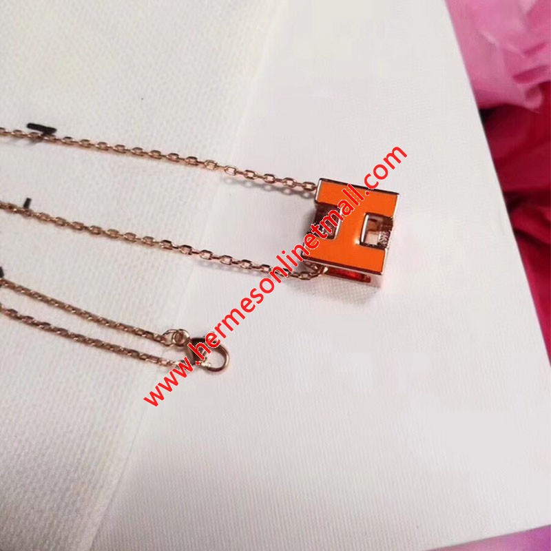 Hermes Cage D'H Pendant Necklace In Orange