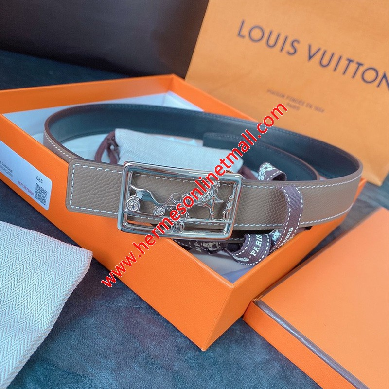 Hermes Caleche Buckle 24MM Reversible Belt Epsom Leather In Grey