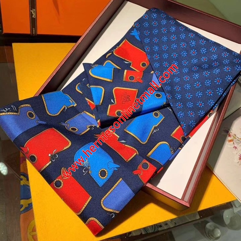Hermes Camails Maxi-twilly Cut In Navy Blue