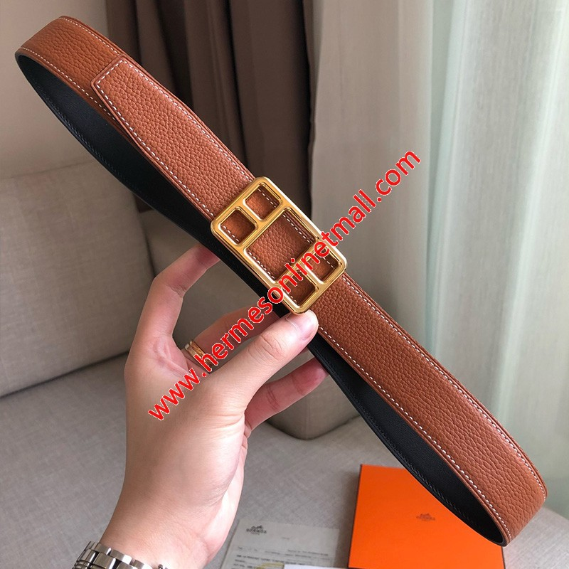 Hermes Cape Buckle 32MM Reversible Belt Togo Leather In Brown