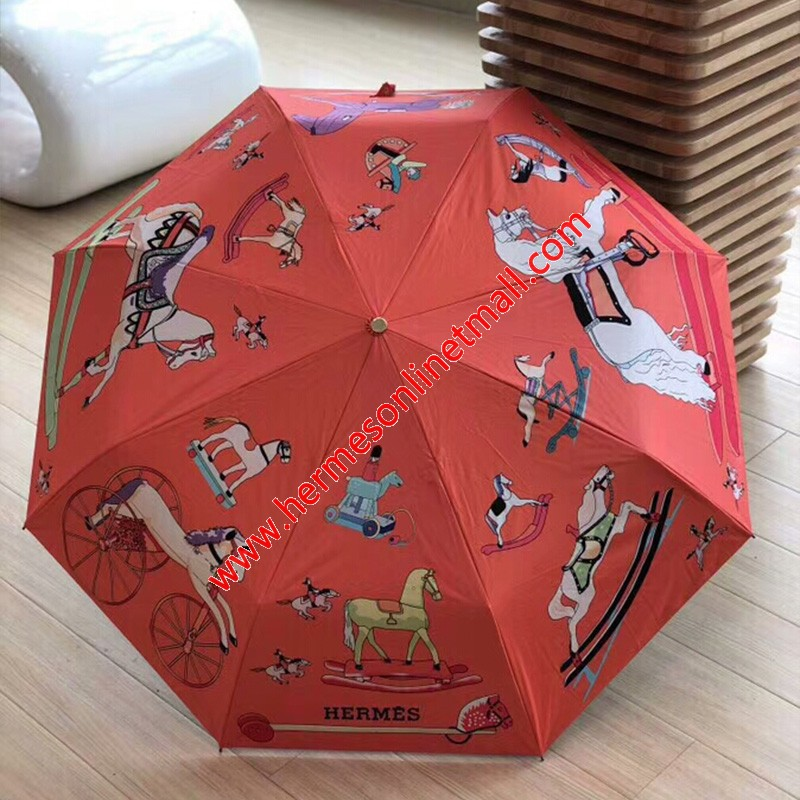 Hermes Cartoon Horses Print Umbrella In Orange