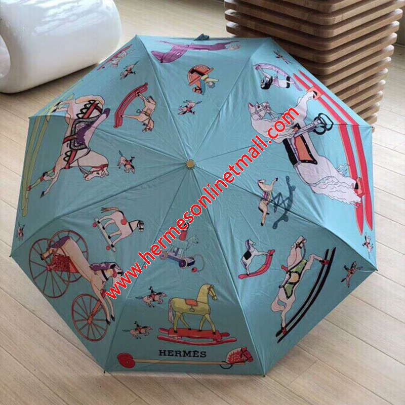 Hermes Cartoon Horses Print Umbrella In Sky Blue