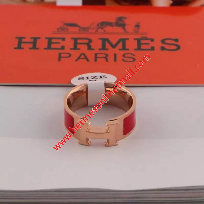 Hermes Clic H Ring Rose Gold In Red