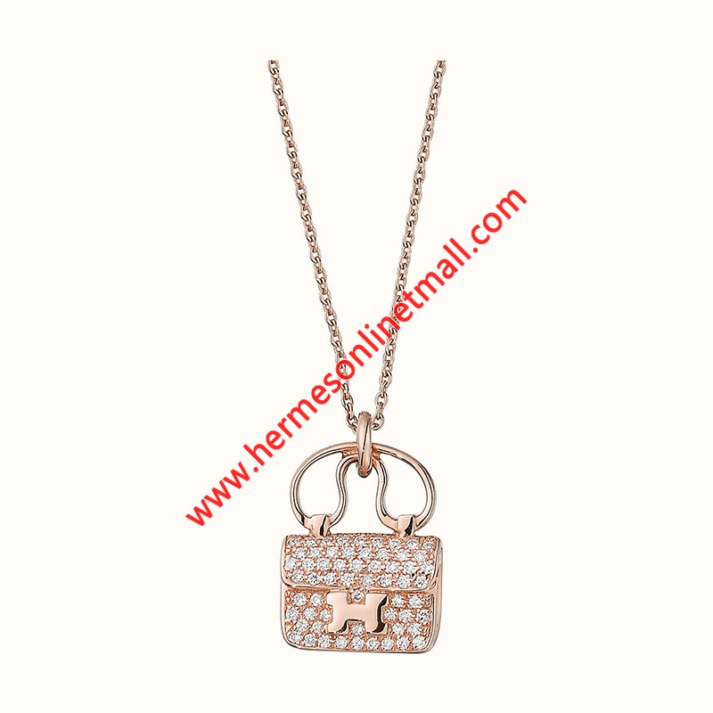 Hermes Constance Amulette Pendant Necklace In Rose