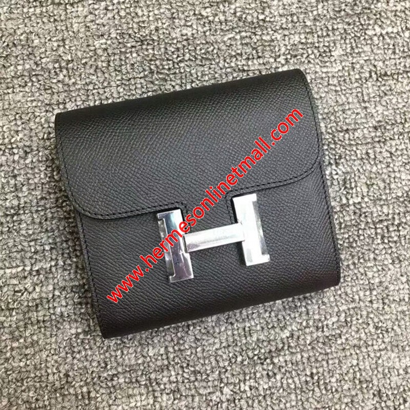 Hermes Constance Compact Wallet Epsom Leather Palladium Hardware In Black