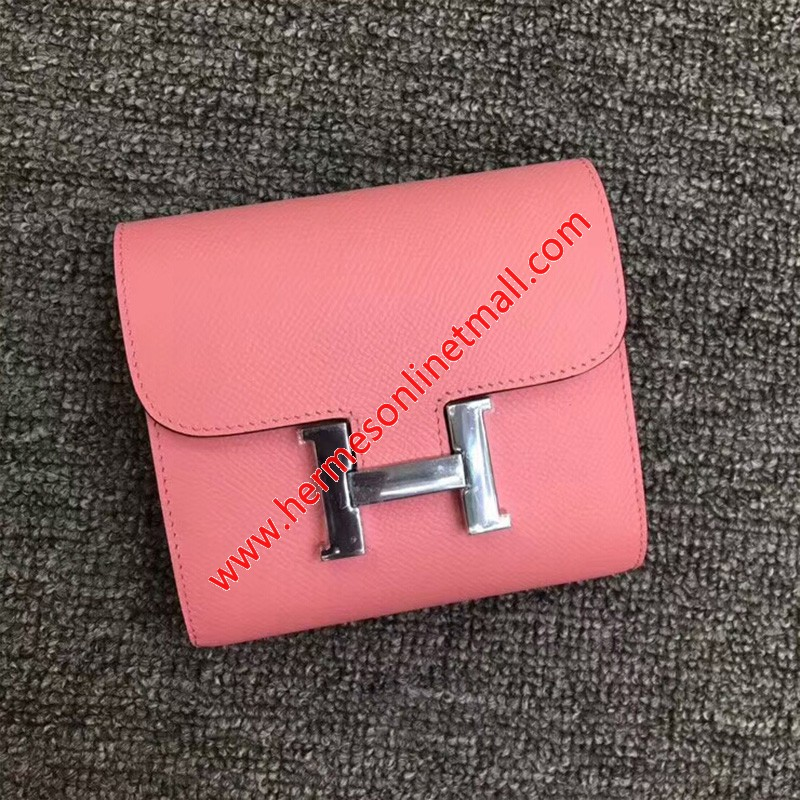 Hermes Constance Compact Wallet Epsom Leather Palladium Hardware In Pink