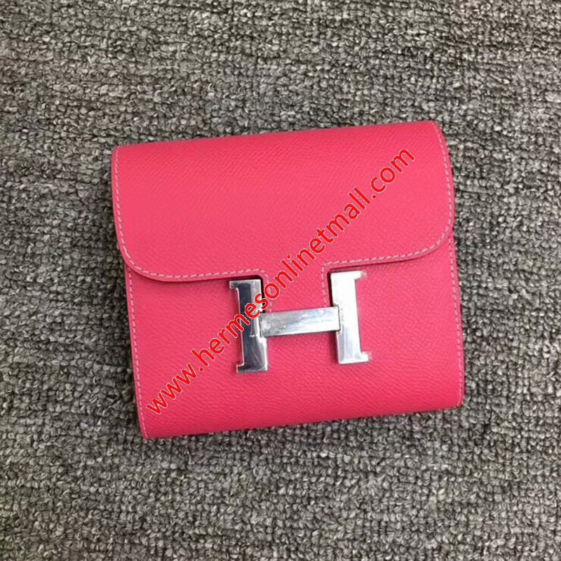 Hermes Constance Compact Wallet Epsom Leather Palladium Hardware In Rose