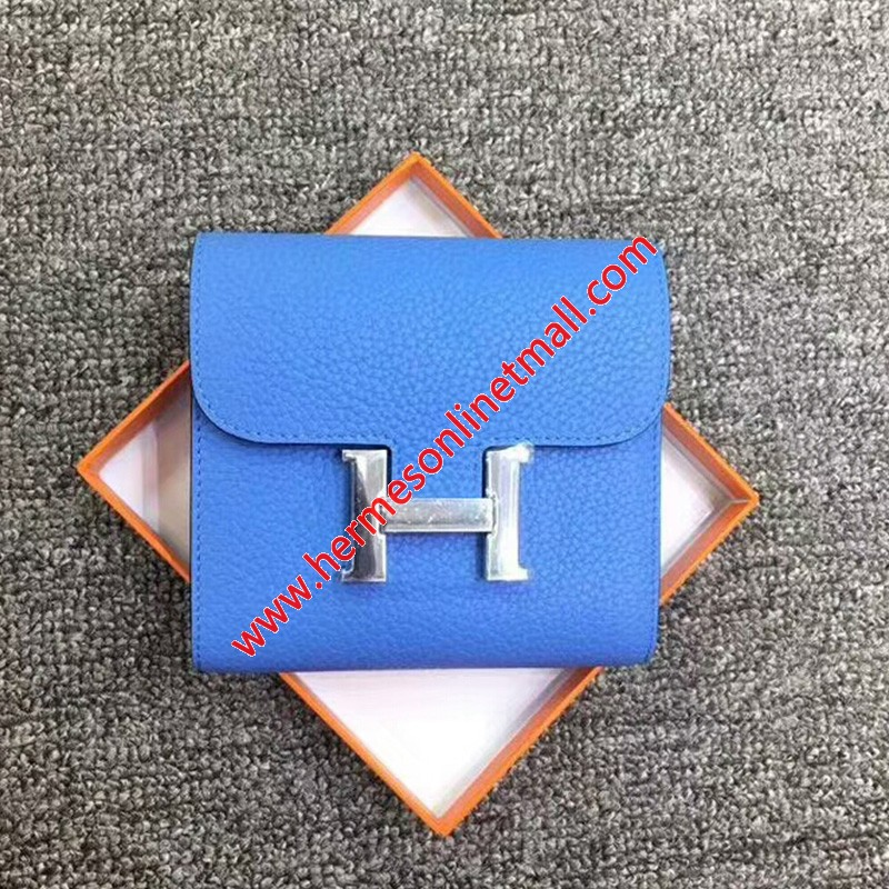 Hermes Constance Compact Wallet Togo Leather Palladium Hardware In Blue