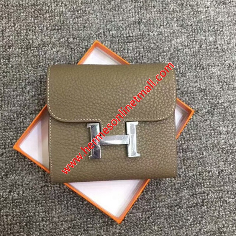 Hermes Constance Compact Wallet Togo Leather Palladium Hardware In Grey