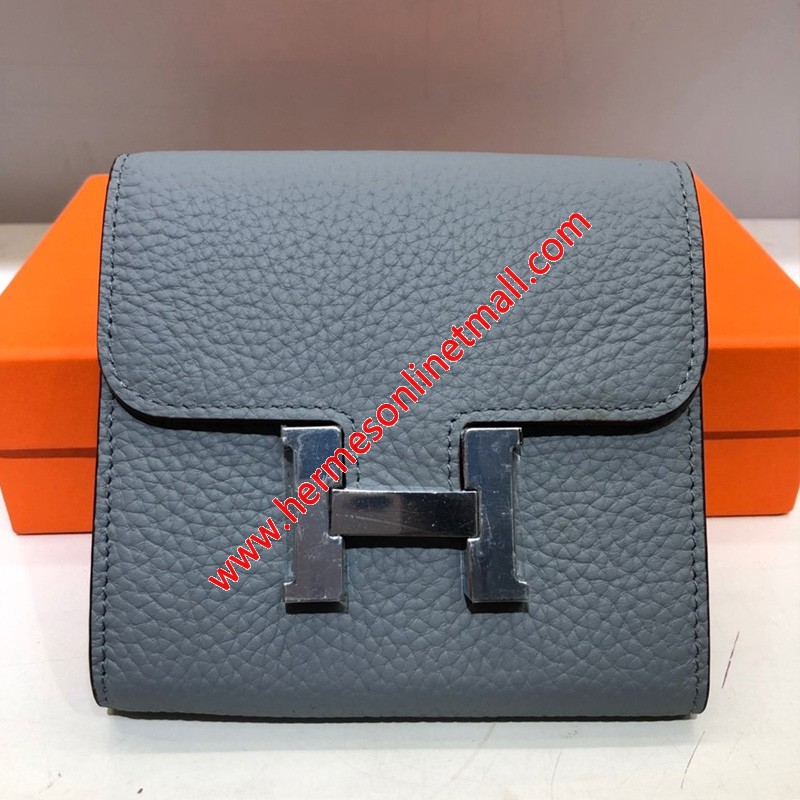 Hermes Constance Compact Wallet Togo Leather Palladium Hardware In Haze Blue