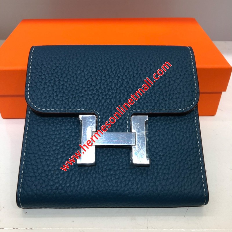 Hermes Constance Compact Wallet Togo Leather Palladium Hardware In Navy Blue