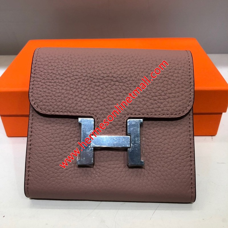 Hermes Constance Compact Wallet Togo Leather Palladium Hardware In Pink