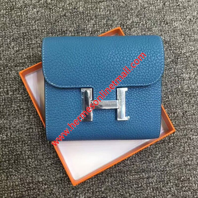 Hermes Constance Compact Wallet Togo Leather Palladium Hardware In Sky Blue