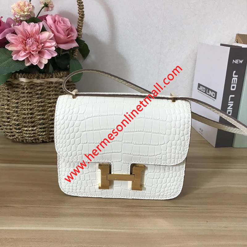 Hermes Constance Bag Alligator Leather Gold Hardware In White