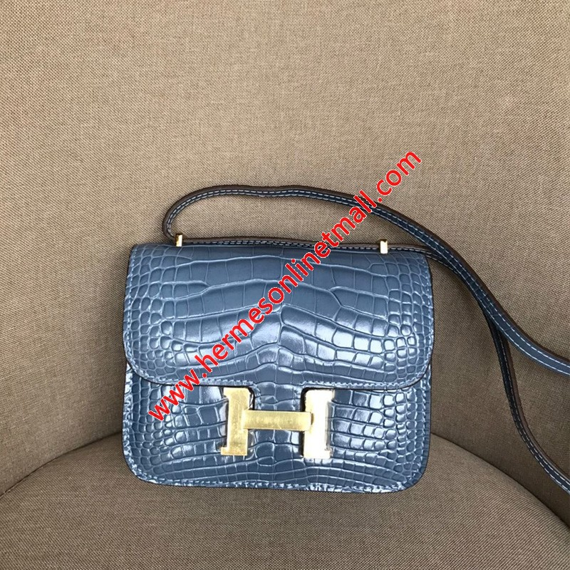 Hermes Constance Bag Alligator Leather Gold Hardware In Blue