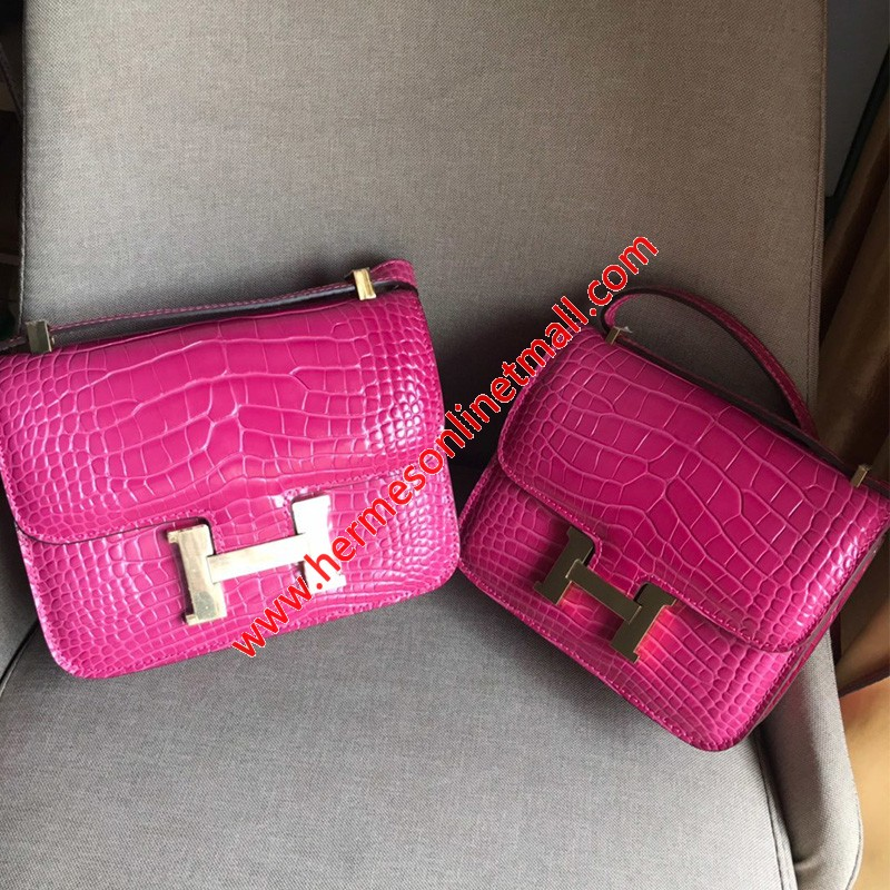 Hermes Constance Bag Alligator Leather Gold Hardware In Rose Pink