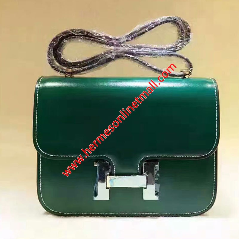 Hermes Constance Bag Box Leather Gold Hardware In Green