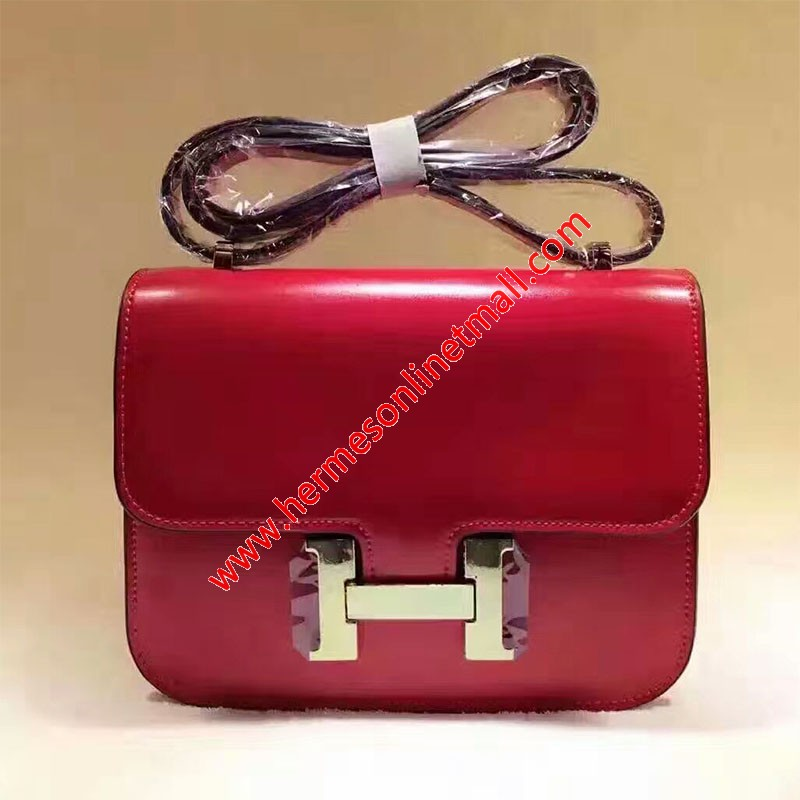 Hermes Constance Bag Box Leather Gold Hardware In Red
